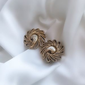 Vintage Gold Braid Spiral Clip Earrings
